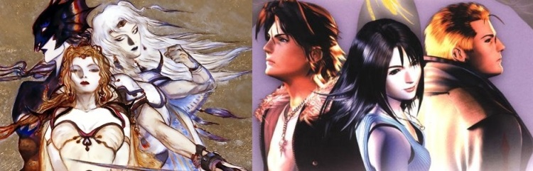 Amano's Kain, Rosa and Cecil of FFIV (left), Nomura's Squall, Rinoa and Seifer of FFVIII (right).