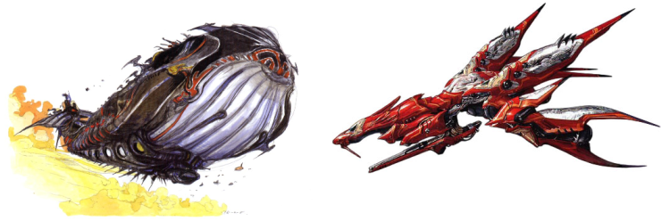 """Left, IV's Lunar Whale; right, VIII's Ragnarok. Both are spaceships: Cecil's father, Kluya, used the Lunar Whale to travel to the Blue Planet; Squall's father, Laguna, used the Ragnarok to banish Sorceress Ultimecia into outer space. Both have been decommissioned for years until the hero turns up in need of a ride to space--though in Squall's story, the spaceship is how he gets back home afterward, not how he gets to the moon in the first place. """"Ragnarok"""" is also the name of Cecil's most powerful sword in IV."""