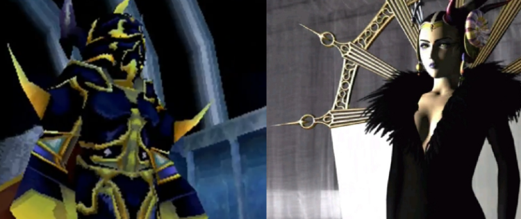 "The apparent villain of IV, Golbez, is actually Cecil's older brother, Theodor. Edea, the apparent villain of VIII, is the ""matron"" who raised Squall and crew at the orphanage. Both are powerful magic-users, both use the hero's rival as a toady, both are under the magical control of the real villain, and both side with the hero once free of the true antagonist's control, though neither joins the party permanently."