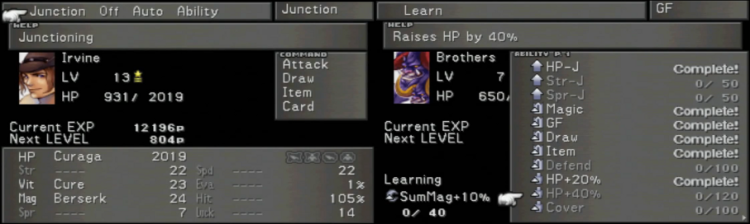 "Junctioning gives the player direct control over each character's abilities and stats, making VIII's roster one of the most versatile in RPGs to this day. There are a number of ""classes"" a do-it-yourself gamer can build by combining different abilities and emphasizing different stats; with a little imagination, each play through is unique."