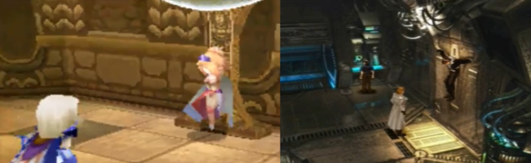 In IV, Cecil saves Rosa from the bondage and captivity Kain put her into; in VIII, Rinoa swoops in to bust Squall out of prison after Seifer arrests him.