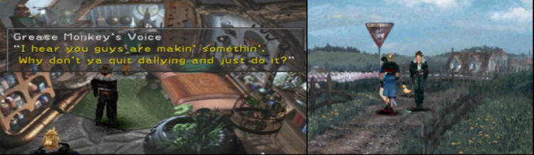 Many sidequests, such as completing the statue in Shumi Village and repairing the vase in Winhill, involve exploration and conversation instead of combat. As such, many of these world-building sequences can be completed at almost any time in the story by a party of any level or ability.